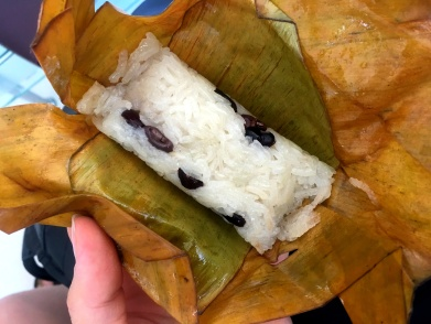 Sticky rice with coconut milk and beans. So delicious!
