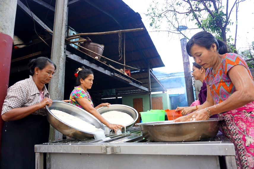 Rice washing - rice is one of the most common alms