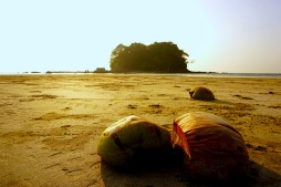 Ngwe Saug Beach with view on Lover Island
