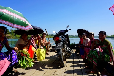 A 'ferry' in Ngwe Saung to cross the river