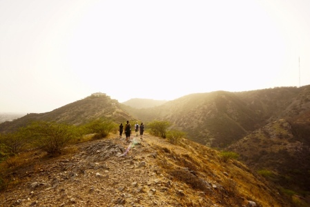 Hiking at sunset